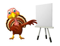 Fun Turkey cartoon character with easel board. 3d rendered illustration of Turkey cartoon character with easel board Royalty Free Stock Image