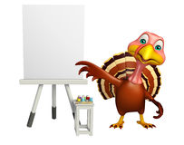 Fun Turkey cartoon character with easel board. 3d rendered illustration of Turkey cartoon character with easel board Royalty Free Stock Photos