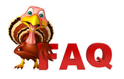 fun Turkey  cartoon character with faq sign Stock Photography