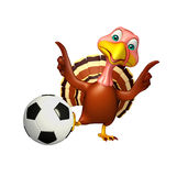 Fun Turkey  cartoon character  with football Stock Photo