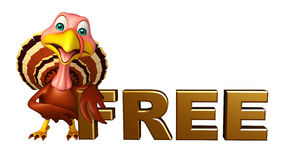 fun Turkey cartoon character with free sign Royalty Free Stock Photos