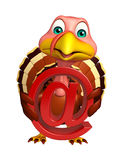 fun Turkey cartoon character with at the rate sign Royalty Free Stock Photo
