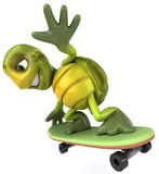 Fun turtle on a skateboard. Fun turtle, 3d generated picture Royalty Free Stock Images