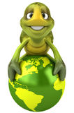Fun turtle with the world stock illustration