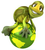 Fun turtle with the world. Fun turtle, 3d generated picture Royalty Free Stock Image
