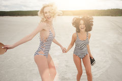 Fun two beautiful girls Royalty Free Stock Photos