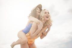 Fun two beautiful girls Stock Photos