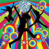 Fun Vector. Girls having fun 3 different silhouettes and disco ball Royalty Free Stock Photography