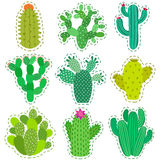 Fun vector patch cactus set. Print pin, badge, sticker, collection Stock Photo