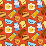 Fun vector seamless pattern Funny characters breakfast vector toasts bread, milk, fried egg cute food and drink in royalty free illustration