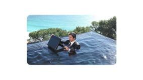 Fun videos of businessmen at beach stock footage