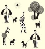 Fun walk gentleman, ladies and harlequin royalty free illustration
