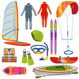 Fun water extreme sport kiteboarding, surfer. Sailing leisure sea activity summer recreation extreme vector illustration. Surfing nature kayaking tools royalty free illustration