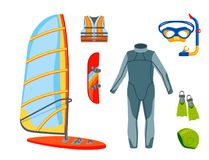 Fun water extreme sport kiteboarding surfer sailing leisure sea activity summer recreation extreme vector illustration. Surfing nature kayaking tools Royalty Free Stock Photography