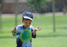 Fun with watersprinkler  Stock Images