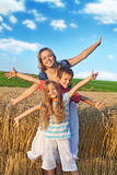 Fun in the wheat field Royalty Free Stock Image