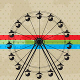 The fun wheel. Amusement park icon, ferris wheel silhouette Royalty Free Stock Images