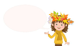 Fun white girl with wreath of autumn leaves on the head and bubble for text. Stock Images