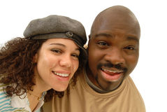 Fun wide angle portrait. Fun portrait of a cool, attractive young couple taken with a wide angle lens for a fun distortion Royalty Free Stock Photos