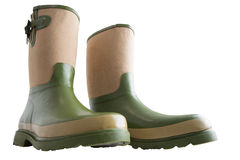Fun wide low angle view of gardening boots Royalty Free Stock Images