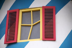 Fun window abstract architecture. Unusual painted Stock Photography