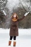 Fun in winter. Young beautiful woman having fun in winter Stock Photo