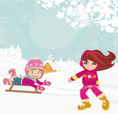 Fun in the winter day Royalty Free Stock Images