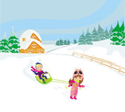 Fun in the winter day Royalty Free Stock Photography