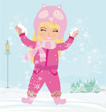 Fun in the winter day Stock Images