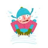 Fun Winter and Snow Sledge Ride Boy Stock Image