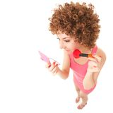 Woman with brush for makeup on the white background Stock Photo