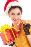 Fun woman with christmas gift Royalty Free Stock Photo