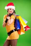 Fun woman with color packages Stock Images