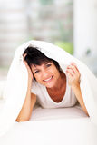 Fun woman duvet Stock Image