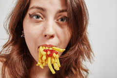 Fun Woman Eats Royalty Free Stock Photos