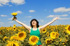 Fun woman in the field Royalty Free Stock Photos