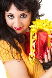 Fun woman with gift Royalty Free Stock Photography