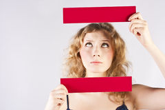Fun woman holding a banner Royalty Free Stock Photo