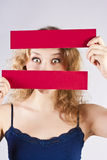 Fun woman holding a banner Royalty Free Stock Photos