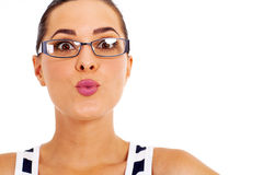 Fun woman kiss Royalty Free Stock Image