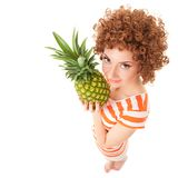 Woman with pineapple on the white background Royalty Free Stock Photo
