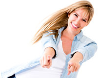 Fun woman pointing Stock Photo