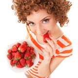 Fun woman with strawberry Royalty Free Stock Images