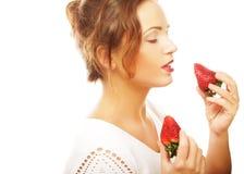 Fun woman with strawberry Royalty Free Stock Photos