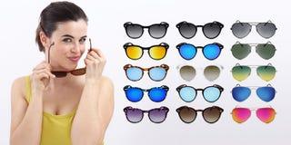 Fun woman with sunglasses, sale concept Stock Photos
