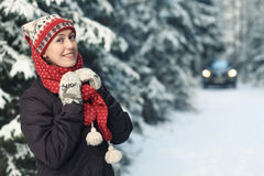Fun woman in winter spruce forest Stock Images