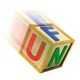 Fun Wooden Block Shows Enjoyment Playing And Recreation. Fun Wooden Block Showing Enjoyment Playing And Recreation Stock Photo