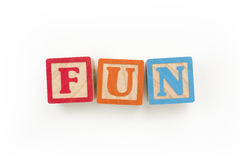 "Fun Wooden Blocks. Wooden Blocks Spelling ""FUN"" with clipping path Royalty Free Stock Photos"