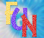 FUN. The word Fun in color on blue background Royalty Free Stock Image