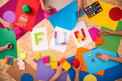 Fun word and colorful paper Stock Photography